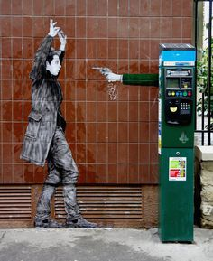 hold up by levalet in paris is part of Street art paris - Hold Up by Levalet in Paris Streetart Paris Street Art Banksy, 3d Street Art, Street Art News, Urban Street Art, Murals Street Art, Graffiti Murals, Best Street Art, Amazing Street Art, Street Artists