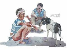 狗表示:我也要來一口…..菸阿酒阿,怎麼有一個自詡為藝術家的人是半點不能沾的呢?忒沒出息!