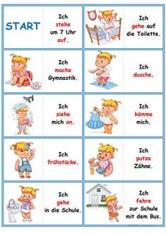 Games in German lessons: Domino - the daily routine Study German, Learn German, German Grammar, German Words, Bachelorette Party Drinks, Deutsch Language, Germany Language, Autism Education, German Language Learning