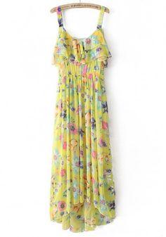 Yellow Flowers Irregular Condole Belt Sleeveless Chiffon Dress