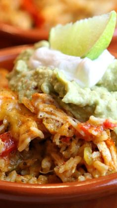 Tex Mex Chicken and Rice Casserole ~ It's so super simple to make, it's total comfort food, and the leftovers are terrific stuffed into a burrito