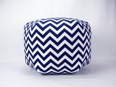 24 Inch Contemporary Modern Floor Ottoman Pouf Pillow Navy Blue White Chevron Zig Zag Perfect for the nursery!