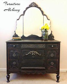 Refinished Antique Dresser | Graphite and Gold Antique Dresser Makeover