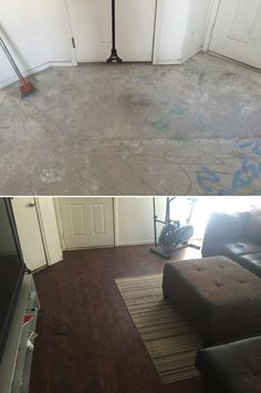 """Family Room Flip: """"We had bad floors when we bought our house. We were excited to find Lumber Liquidators and their great prices. They made it so we could put new floors through our whole house. Now I love having people over. Hearing about how great our floors look never gets old."""" http://remodel.lumberliquidators.com/detail/2mm-king-county-knotty-oak-vinyl-north-las-vegas-nv"""