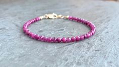Ruby Bracelet, Silver or Gold, Dainty Stacking Bracelet, Pink Gemstones, Natural Ruby Jewelry, Beaded Ruby Bracelet, July Birthstone Gift Ruby Bracelet, Gemstone Bracelets, Bracelet Sizes, Silver Bracelets, Pink Gemstones, Natural Gemstones, Ruby Beads, July Birthstone, Ruby Jewelry