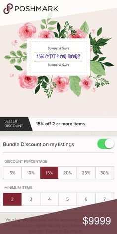 Bundle Discount: 15% OFF 2 or More Items!!! Bundle & Save Money when you bundle 2 or More Items in one order. Happy Poshing. Other