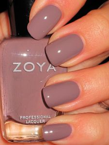 "Zoya ""Jana""- Available right now at ULTA as part of Smoke and Mirrors. In the store this looked like a true mauve but on the nails, it came across as a very deep smoky charcoal with a mauve/plum undertone."