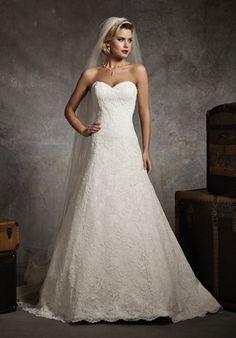 Justin Alexander Wedding Dress 8627 - A Line, sweetheart, chapel train, Alencon lace, satin