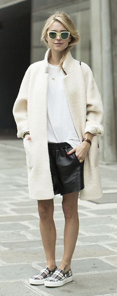 black leather shorts and light colored coats  -et
