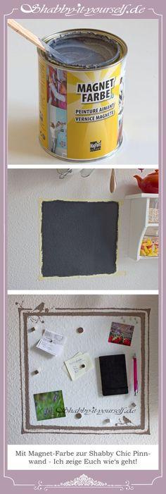 In meiner Küche habe ich mir ganz einfach mit Magnet-Farbe ein Pinnboard and die Wand gemalt. Zuerst die magnetische Farbe, dann normale Wandfarbe und ein bisschen Deko und schon ist die Wand in Shabby Chic verschönert. :) http://www.shabby-it-yourself.de/ https://www.facebook.com/shabbyityourself