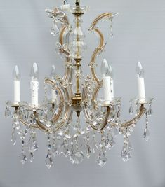 6 arm Marie Therese with flowers and kite drops | The Vintage Chandelier Company