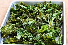 // roasted kale chips with sea salt & vinegar...mmm...boys love roasted kale!!