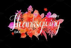 Happy Thanksgiving Day poster by Aromeo on the creative market - Mary Haircuts Thanksgiving Day 2018, Thanksgiving Quotes, Hand Drawn Flowers, Vector Flowers, National Holidays, Poster S, Textured Background, I Am Awesome, Workout Exercises