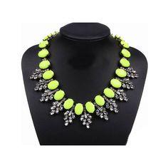 Neon Yellow Crystal Jewel Statement Necklace  by KateJewelsJewelry