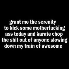 Grant me the serenity to kick some motherfucking ass today and karate chop the shot out of anyone slowing down my train of awesome.