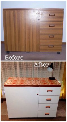 Painted Horn Sewing Cabinet. With some decent primer, copper spray & retro wallpaper my drab wood grain laminate sewing cabinet is now a pretty piece of functional furniture.