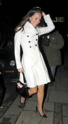 Kate Middleton wearing Reiss Double Breasted Coat and L.K Bennett Carla Pumps.