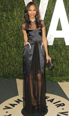 Zoe Saldana in Marios Schwab, Vanity Fair's Oscar party