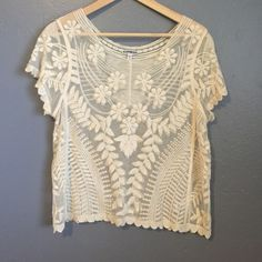 Express Boho lace top Express baroque lace tee, see through. Excellent condition, nylon and cotton blend. Express Tops