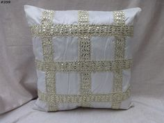 decorative trim cushion cover pillow cover off white india  #359 #Handmade