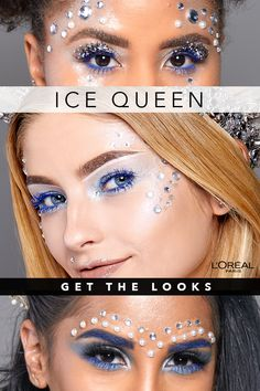 Want to sport a holographic ice queen costume for Halloween? Here, find a step-by-step tutorial to get a holographic ice queen makeup look for Halloween. Clever Halloween Costumes, Halloween Makeup Looks, Halloween Town, Halloween Make Up, Dark Makeup Looks, Blue Makeup, Ice Queen Makeup, Maquillaje Halloween, Costumes