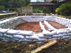 Build a sand bag pond. Bad link, but search sand bag pond and it comes up. Diy Swimming Pool, Natural Swimming Pools, Building A Pond, Natural Building, Diy Pond, Sand Bag, Aquaponics System, Aquaponics Plants, Fish Farming