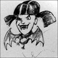 "NCIS Abby — bat/ vampire Abby caricature. Drawn by ""Kate""."