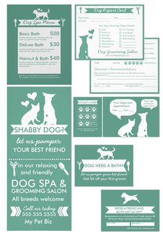 I designed this marketing toolkit for dog groomers just like you to make it as easy as possible to get your name out there, start getting new clients and retaining them. By clicking the 'customize' button, you can easily change all the text, add your own business details, logo (if you have one) and even change the font types, and background colours on all designs.  Marketing | Grooming Salon | Business Cards | Flyers | Report Cards | Loyalty Cards | Green