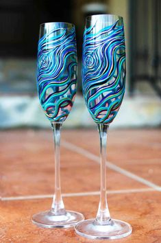 bride and groom champagne flutes #peacock #wedding (by mary elizabeth arts)