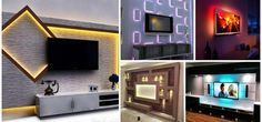 12 capricious TV wall units with Led lighting that you must see right now! Tv Wall Design, Ceiling Design, Living Room Modern, Home Living Room, Painel Home, Tv Nook, Tv Decor, Home Decor, Decor Ideas