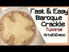 Baroque crackle on a platter! Decoupage Plates, Youtube, Clay Art, Diy Tutorial, Baroque, Mason Jars, Crafts, Tutorials, Ideas