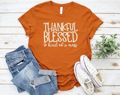 Etsy :: Your place to buy and sell all things handmade Thanksgiving Shirts For Women, Crew Neck Shirt, T Shirt, Sublime Shirt, Thankful And Blessed, Fall Shirts, Shopping Websites, Shirts For Girls, Sweatshirts