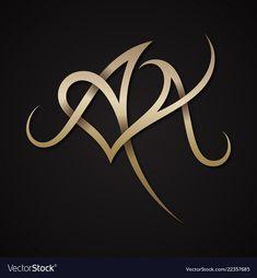 Letter aa love vector image on VectorStock Alphabet Design, Alphabet Tattoo Designs, Calligraphy Letters Alphabet, Monogram Letters, Monogram Logo, Caligraphy, Wedding Logo Design, Wedding Logos, Love Design