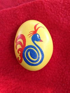 Hand Painted River Rock Blue Bird by AfterHourArt on Etsy