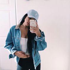 Teen fashion. Jean jacket. Baseball hat. Cropped top. Tumblr fashion