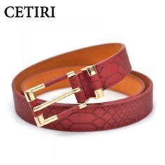 97b245083 CETIRI genuine real cow leather + pu belt women gold snake belt for adults  ladies top brand luxury thin crocodile belt red black