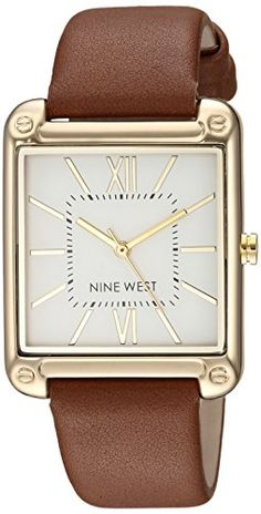 2c655e4a59 Nine West Women's NW/2116SVBN Gold-Tone and Brown Strap Watch Black Print,