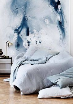 Interior design Trends Stairs - Transform your home space with design risk Try unique decor trends like watercolor walls, halfpainted walls, unfinished wallpaper, wallpapered stairs and diagonal door paint Home Bedroom, Bedroom Decor, Wall Decor, Bedroom Wall, Bedroom Ideas, Bedroom Apartment, Paint Decor, Serene Bedroom, Wall Lamps