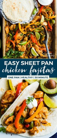 Healthy and flavorful Chicken, bell peppers, onions, garlic, and fajita seasoning all bake in one sheet pan in under 30 minutes. This quick sheet pan meal makes Healthy Chicken Recipes, Mexican Food Recipes, Dinner Recipes, Weeknight Recipes, Lunch Recipes, Dinner Ideas, Healthy Food, Healthy Eating, Yummy Food
