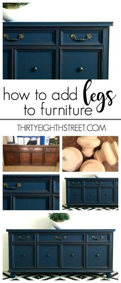 How To Add Legs To Furniture: Create the look of custom furniture by adding feet! A simple tutorial on how to add legs to furniture!   Thirty Eighth Street