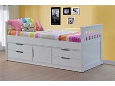 Sleepland White Single Captains Bed With Storage Cupboard And Drawers
