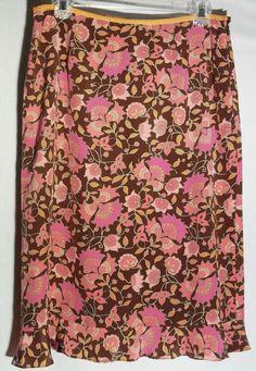 ANN TAYLOR 100% Silk Multicolor Floral Print on Chocolate - Bottom Flounce - 8 #AnnTaylor #StraightPencil