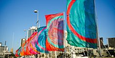 www.mirandabrown.co.nz beautiful flags at the opening of the Wynyard Quarter Auckland, Sustainable Fashion, Flags, Sustainability, Fair Grounds, Creative, Fun, Beautiful, National Flag