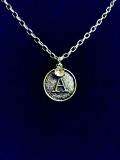 """Signature Initial with Swarovski Crystal Charm Necklaces on a 32"""" Silver Link ChainHandmade by U.BE.U. FASHION"""