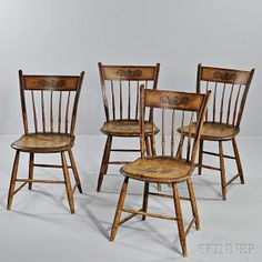 Set of Four Paint-decorated Turned Tablet-back Windsor Chairs, New England, early 19th century, the rectangular tablets joining stiles above five spindles, carved seats, and bamboo-turned legs and stretchers, painted mustard yellow with foliate designs in the crest, with red bordering and black striping throughout, (imperfections), ht. 34, seat ht. 17 1/2 in. Estimate $600-800 SKINNER auctions