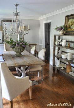 Our Updated Dining Room with a New Farmhouse Table and Rolling Shelves by Dear Lillie