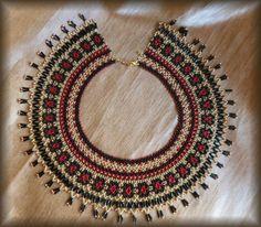 Wide beaded necklace Bead weaving Bead collar Beaded jewelry