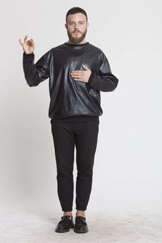 faux leather and gum sweatshirt. Conspiracy collection on www.individuell.it/shop