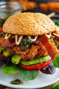 Jalapeno Honey Crispy Fried Chicken BLT Recipe : Crispy fried seasoned chicken smothered in sweet and spicy jalapeno honey in a BLT with avocado! Blt Recipes, Chicken Sandwich Recipes, Fried Chicken Sandwich, Crispy Fried Chicken, Cooking Recipes, Healthy Recipes, Crispy Chicken Burgers, Cucumber Recipes, Bakery Recipes