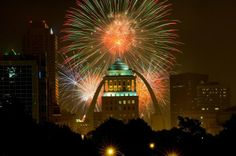 """On July 4, St. Louis kicks off a three-day-long """"America's Biggest Birthday Party"""" with an evening of fireworks over the city's iconic arch.  www.aaa.com/travel"""